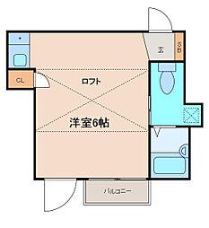 東京都世田谷区奥沢1丁目の賃貸アパートの間取り