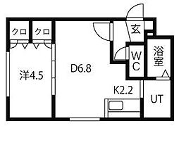 ルーエ北円山 1階1DKの間取り
