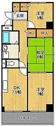 シェルコート南甲子園[3階]の間取り
