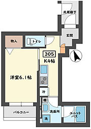 Plage Eifukucho プラージュ永福町 3階1Kの間取り