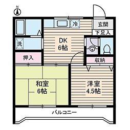 ルミエール本宿弐番館[2階]の間取り