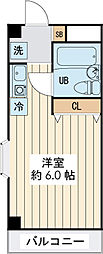 ランディー新浦安 2階ワンルームの間取り