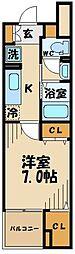 多摩都市モノレール 大塚・帝京大学駅 徒歩2分の賃貸マンション 1階1Kの間取り