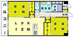 リバーサイド古賀[3階]の間取り