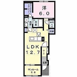 鳥取県米子市陰田町の賃貸アパートの間取り