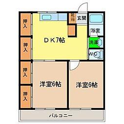 徳島県徳島市国府町観音寺の賃貸マンションの間取り