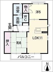 パークサイドハイツ C棟[2階]の間取り
