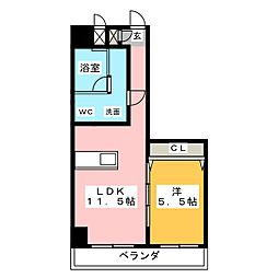 SK'BUILDING-8 4階1LDKの間取り