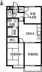 愛知県名古屋市緑区桶狭間西の賃貸アパートの間取り