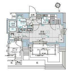 ミライズ早稲田レジデンス(ミライズワセダレジデンス) 8階ワンルームの間取り