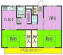 ビレッジハウス串崎[1-207号室]の間取り