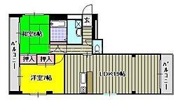 岡山県岡山市北区平和町の賃貸マンションの間取り