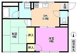 長野県松本市城東1丁目の賃貸アパートの間取り