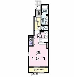 セイレーンII 1階1Kの間取り