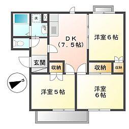 岡山県倉敷市東塚4の賃貸アパートの間取り