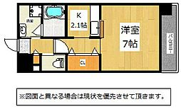 JR鹿児島本線 九州工大前駅 徒歩12分の賃貸マンション 9階1Kの間取り