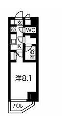 京急本線 新馬場駅 徒歩6分の賃貸マンション 6階1Kの間取り