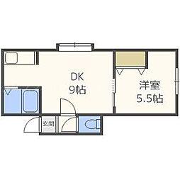 北海道札幌市東区北二十八条東19丁目の賃貸アパートの間取り