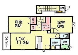リンベル 2階2LDKの間取り