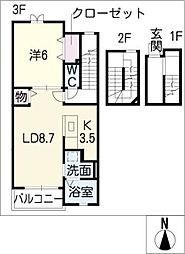 メゾンジャスト A棟[3階]の間取り