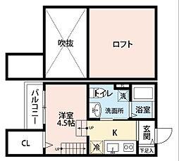 JR鹿児島本線 九産大前駅 徒歩7分の賃貸アパート 2階1Kの間取り
