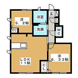 エストマーレ D棟[1階]の間取り