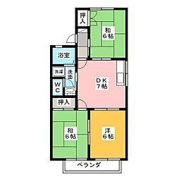 タウンKOSE 6棟[2階]の間取り