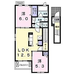 JR中央本線 竜王駅 徒歩31分の賃貸アパート 2階2LDKの間取り