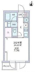 京王線 代田橋駅 徒歩7分の賃貸マンション 2階1Kの間取り