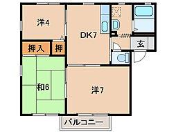 ディアス山茂[2階]の間取り