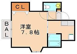 福岡県福岡市城南区友丘3丁目の賃貸アパートの間取り