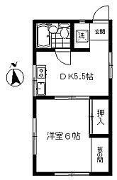 東京都世田谷区下馬1丁目の賃貸アパートの間取り