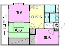 スクウェアガーデン東野[302 号室号室]の間取り