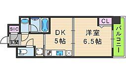 スプランディッド天王寺 2階1DKの間取り