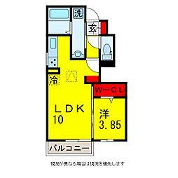 メゾンクレールE[1階]の間取り