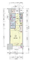 名古屋市営東山線 亀島駅 徒歩5分の賃貸マンション 3階1Kの間取り