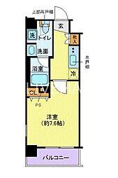 クレイシア芝浦ウォーターフロント 8階1Kの間取り