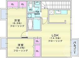 シャルマン21ABEIII 2階2LDKの間取り