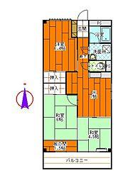 メゾンD.P.大里[3-D号室]の間取り