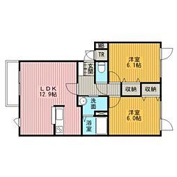 フォレスタハウス壱番館[2階]の間取り