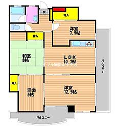 岡山県岡山市北区今3丁目の賃貸マンションの間取り