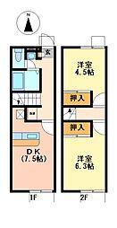 兵庫県神戸市北区上津台3丁目の賃貸アパートの間取り