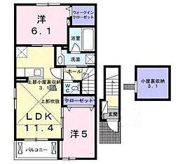 滋賀県甲賀市水口町京町の賃貸アパートの間取り