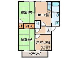 京都府京都市山科区音羽稲芝の賃貸アパートの間取り