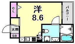 サンクラッソ神戸山手 2階ワンルームの間取り