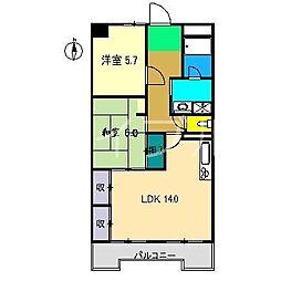 山本ハイツ[6階]の間取り