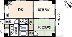 広島電鉄6系統 江波駅 徒歩11分の賃貸マンション 4階2DKの間取り
