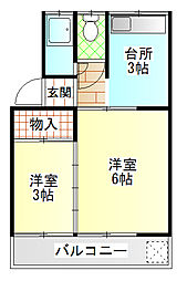 中島アパート[207号室]の間取り
