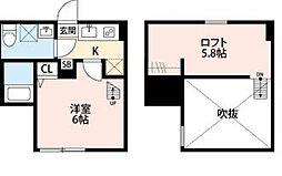 神奈川県川崎市多摩区中野島4丁目の賃貸アパートの間取り