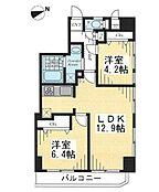 2LDKの間取り図。5階・角部屋です。